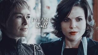 Regina Mills & Cersei Lannister II I Want It All II HBD apple outlaw