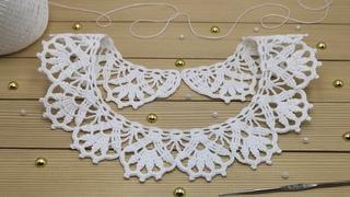 Классический КРУЖЕВНОЙ ВОРОТНИЧОК вязание крючком для начинающих СХЕМА  Сrochet lace collar tutorial