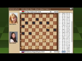 Ноговицына - О.Федорович. Чемпионат Мира по международным шашкам 2021