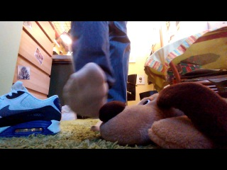 Poor Teddy trampled by hot Air Max and must sniff Adidas Socks :D