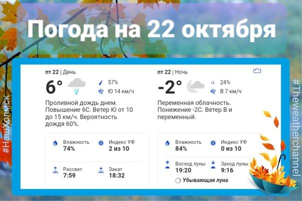 *Прогноз погоды на 22 октября*🌧 днём 6°, ветер 3-4...